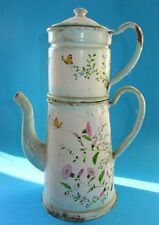 BELLE CAFETIERE EN TOLE EMAILLE EMAIL DECOR FLORAL ENAMEL COFFEE POT