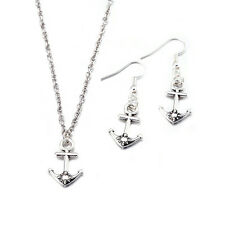 Lady Jewelry Set Anchor Earrings Necklace Pendant Plated 925 Silver LF