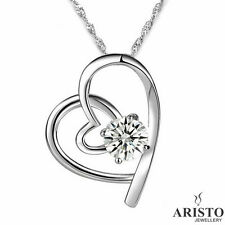 925 Sterling Silver Double Heart Pendant Necklace Chain Jewellery Ladies Gifts