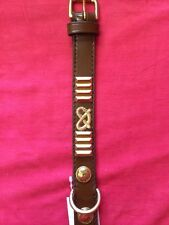 staffordshire bull terrier collar BROWN, BRASS ROPES & PLATES 18 inch long X 1
