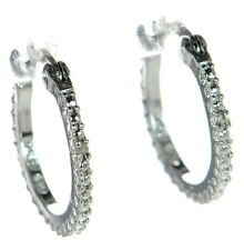 RSE Solid 925 Sterling Silver Diamond Accent Textured Small Hoop Earrings '