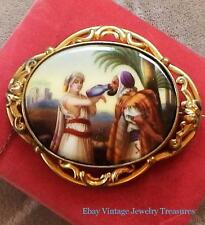 Georgian Antique Victorian Yellow Gold Hand Painted Scene Pinchbeck Pin Estate