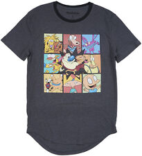 Nickelodeon Vintage Retro Shows Men's T-Shirt S-L Rounded Hem Long Rocko Tommy