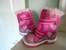 Girl's AIRWALK Snow Boots Pink Silver Faux Fur Size 3 *EXCELLENT*