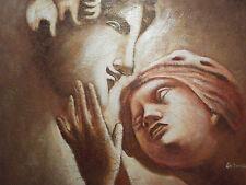 romantic couple lovers large oil painting canvas portrait art classic cream