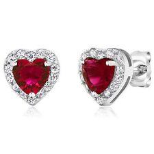 Heart Shape Red Zirconia 925 Sterling Silver Women's Earrings