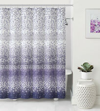 Celebration Dobby Purple Lilac White Striped Confetti Fabric Shower Curtain