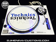 2 custom white powder coated Technics SL1200 mk2 with blue leds Halos turntables