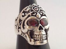 MEN'S HEAVY BIKER PUNK ROCK GARNET EYE STERLING SILVER 925 SKULL RING Size 9