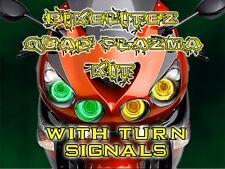 Ninja ZX14R ZX 14 2006-2014 GREEN LED PLAZMA Halo Angel Eyes Quad Rings KAWASAKI