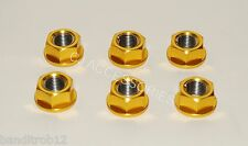 M12 Gold Anodised Sprocket Nuts Fits Honda CBR CR XR Hornet