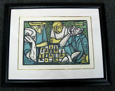 """Irving Amen CHESS GAME # 44/200 Signed/Matted/Framed WOODCUT -20-1/4"""" x 14-3/4"""""""