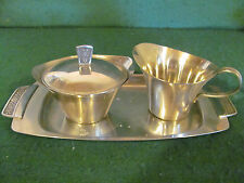 MID CENTURY CORDOVA STAINLESS STEEL SUGAR & CREAMER W UNDER TRAY / STICKER