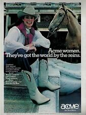 1982 ACME BOOT : Western Cowboy Leather Boots    Magazine Print AD .