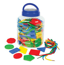 Threading Toy 64 Pieces Colossal Buttons, 8 shapes, 4 cols, 4 Threading Laces