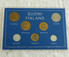 FINLAND 1977 7 COIN UNCIRCULATED MINT SET - cased