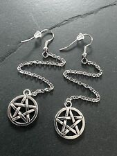"Silver Pentagram Earrings Long 5"" Dangle Stainless Steel Chain--Wiccan / Goth"
