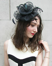 Large Black Net & Feather Fascinator Races Vintage Wedding Hair Clip Hat 20s N80