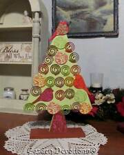 """13"""" CHRISTMAS TREE CARD PHOTO HOLDER Holds 18 Cards in Small Area WOOD"""