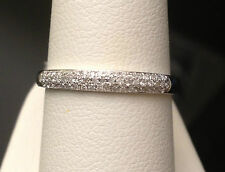 White Gold 3 Rows Diamonds Anniversary Wedding Band Micro Pave Stackable Dome