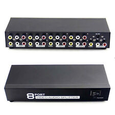 1 Input 8 Output 1x8 Port Splitter Composite 3 Rca Av Video Audio Switcher