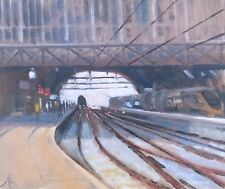"Original michael richardson oil ""Grand Central Station, Amsterdam"" peinture"