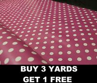 Cerise Pink Polka Dot Spots Tablecloth Vinyl PVC Oilcloth Wipe/Clean Easy Fabric