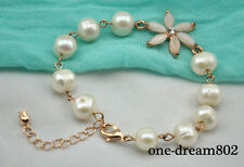 "Chic  8"" 10mm white round fresh water pearl bracelet"