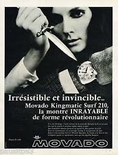 PUBLICITE ADVERTISING 055  1968  MOVADO   montre  KINGMATIC SURF 210