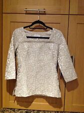 GREAT ALLEGRA HICKS BEIGE & CREAM 3/4 LENGTH SLEEVE TOP UK SIZE 8 BNWT