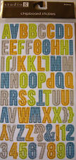 NEW 68 pc PLAID ALPHABET CHIPBOARD STICKERS Letters ABC  STUDIO G (Lrg.)