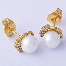 Stud Gold Filled Clear Crystal Fashion bead Jewellery Womens Earrings 15*8mm