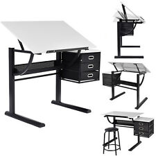 Drafting Table Art and Craft Drawing Desk Art Hobby Folding Adjustable w/ Stool