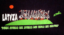 Republic LATVIA Baltic T-shirt XL Where Storks Are Storks Frogs Are Nervous tee