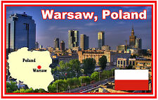 POLAND, WARSAW, MAP & FLAG - SOUVENIR NOVELTY FRIDGE MAGNET - NEW - GIFT