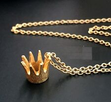 N903 Forever 21 Gold Queen Princess Tiara Royal Crown Crystal Chain Necklace