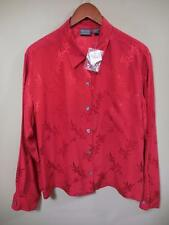 NWT CHICO'S Additions red silk damask l/sl Blouse TOP 2 / 12 - 14