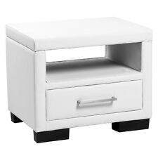 NEUHOLZ® Night table With Drawer White Faux Leather Bedside Table Side table