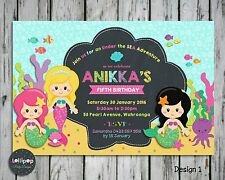MERMAID PERSONALISED INVITATIONS INVITE CARD GIRLS BIRTHDAY PARTY UNDER THE SEA
