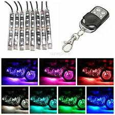 Flexible Multi 15 Color 8 Strip SMD RGB LED Light +Remote Kit Motorcycle Car 12V