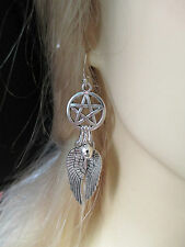 SPIRIT GUIDE NATIVE INDIAN EARRINGS WITH A PENTAGRAM,BIG ANGEL WINGS AND A BELL