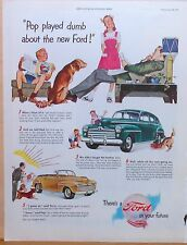 Vintage 1947 magazine ad for Ford - Pop surprises kids & dog with new Ford