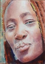 Aceo Fine Art Card Original Watercolor Portrait Painting / African woman