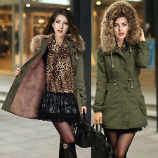 Womens Winter Warm Overcoat Long Hooded Jacket Coat Thicken Fur Outwear Parka