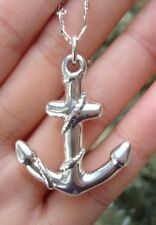 "925 Sterling Silver Mariner Cross Anchor Pendant 22"" Anchor Chain Necklace"