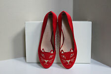 New sz 10 / 40 Charlotte Olympia Kitty Flat Cat Face Red Satin Slip on Shoes