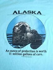 Vintage Alaska Petroleum Protection Beaver Animal Lover Wildlife 1989 T Shirt L