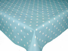 Wipe Clean Table Vinyl Oilcloth 140cm wide, Duckegg Blue Polka Spot Dotty Dot