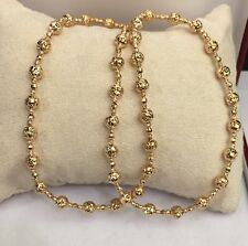 18k Solid Yellow Gold Italian Beaded Chain Necklace, Diamond Cut,9.76Grams. 16""