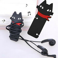 Fashion Cute Black Cat Headphone Earbud Cable Cord Manage Organizer Winder Cute
